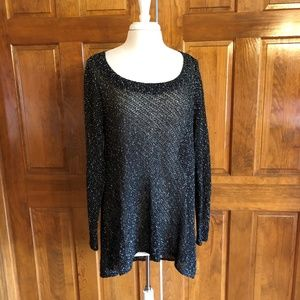 Eileen Fisher Open Weave Black & White Sweater 1X